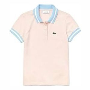 Girls pink Lacoste polo